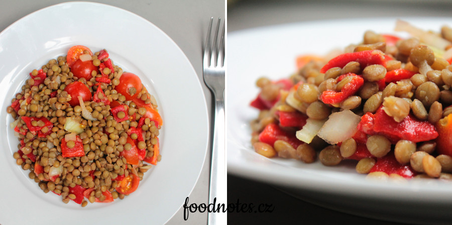 Recept na jednoduchý bezmasý čočkový salát