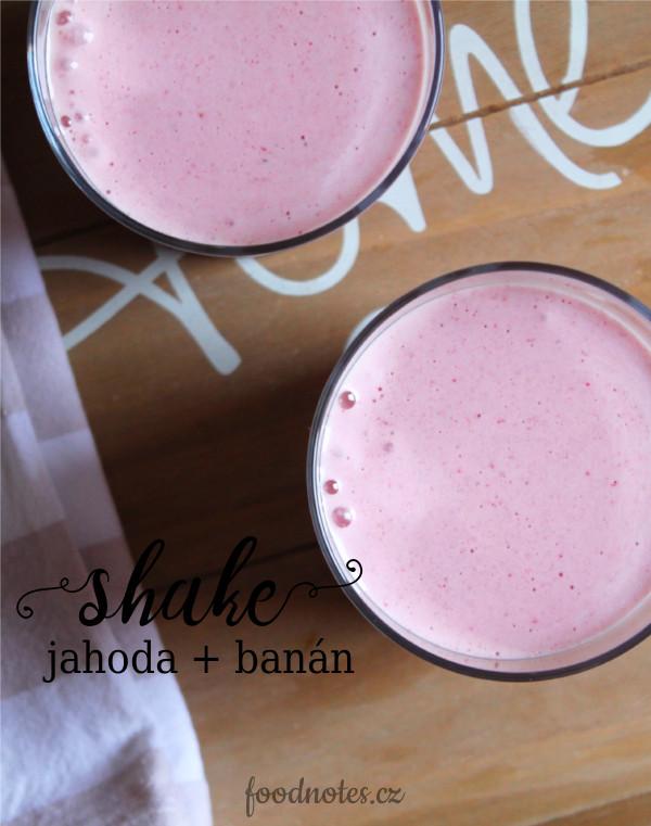 Jednoduchý recept na domácí shake z jahod a banánu, připravitelný i ve vegan verzi