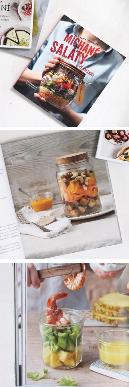Recenze knihy Míchané saláty ve sklenici - kuchařka plná receptů na přípravu jídel s sebou do skleničky