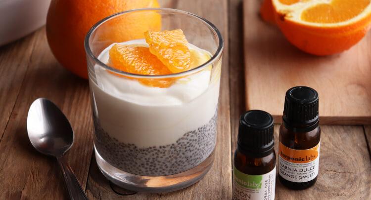 Chia pudink a jogurt ochucený citronovou a pomerančovou esencí, recept na zdravou snídani