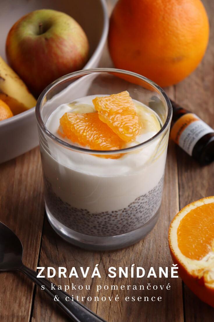 Jednoduchý recept na jogurt ochucený medem a esenciálními oleji pomeranče a citronu, s vrstvou chia pudinku   zdravé snídaně a svačiny   foodnotes.cz